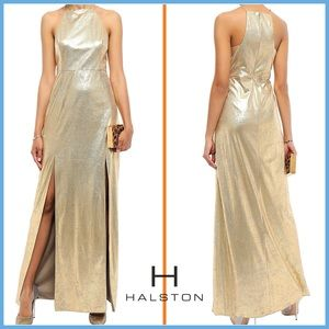 🏷 🆕 RARE Halston Gold Shimmery Long Gown   Dress